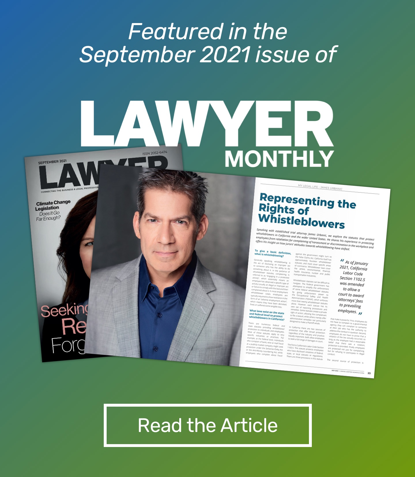 James Urbanic featured in the September issue of Lawyer Monthly